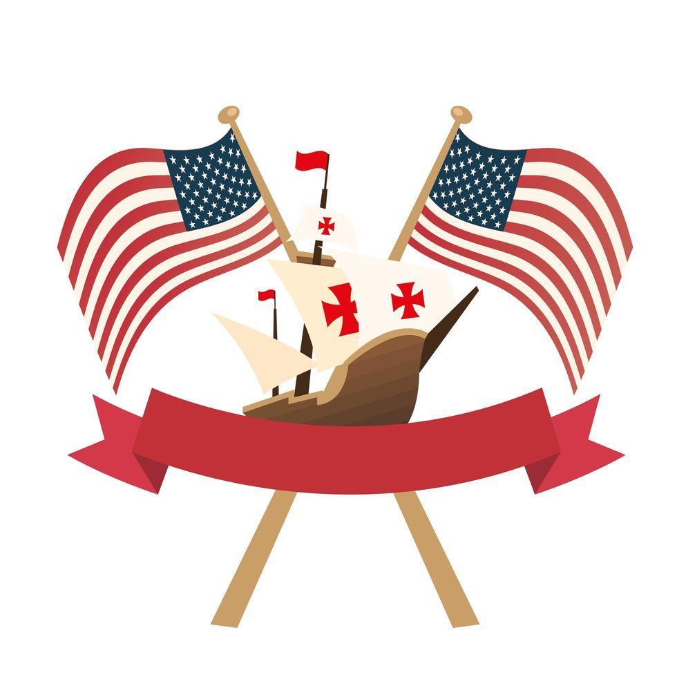 Christopher Columbus-schip met de vlaggen van de VS en lint vectorontwerp vector