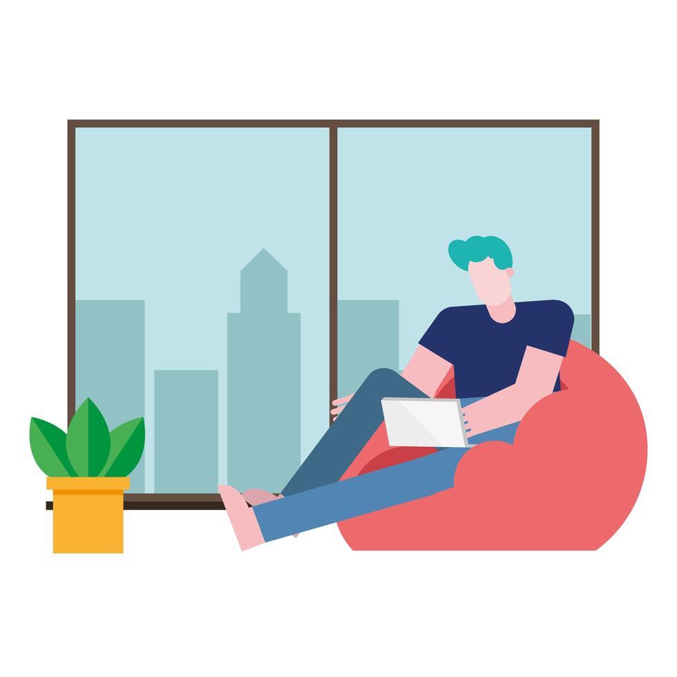 man met laptop op bladerdeeg stoel werken vanuit huis vector