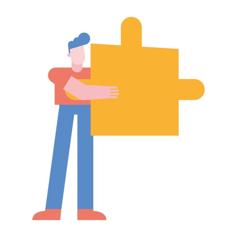 man met puzzel vector ontwerp