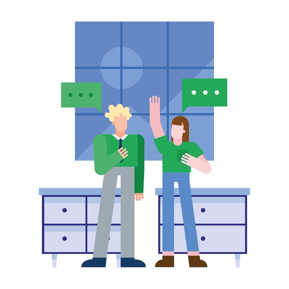 vrouw en man met het vectorontwerp van toespraakbellen vector