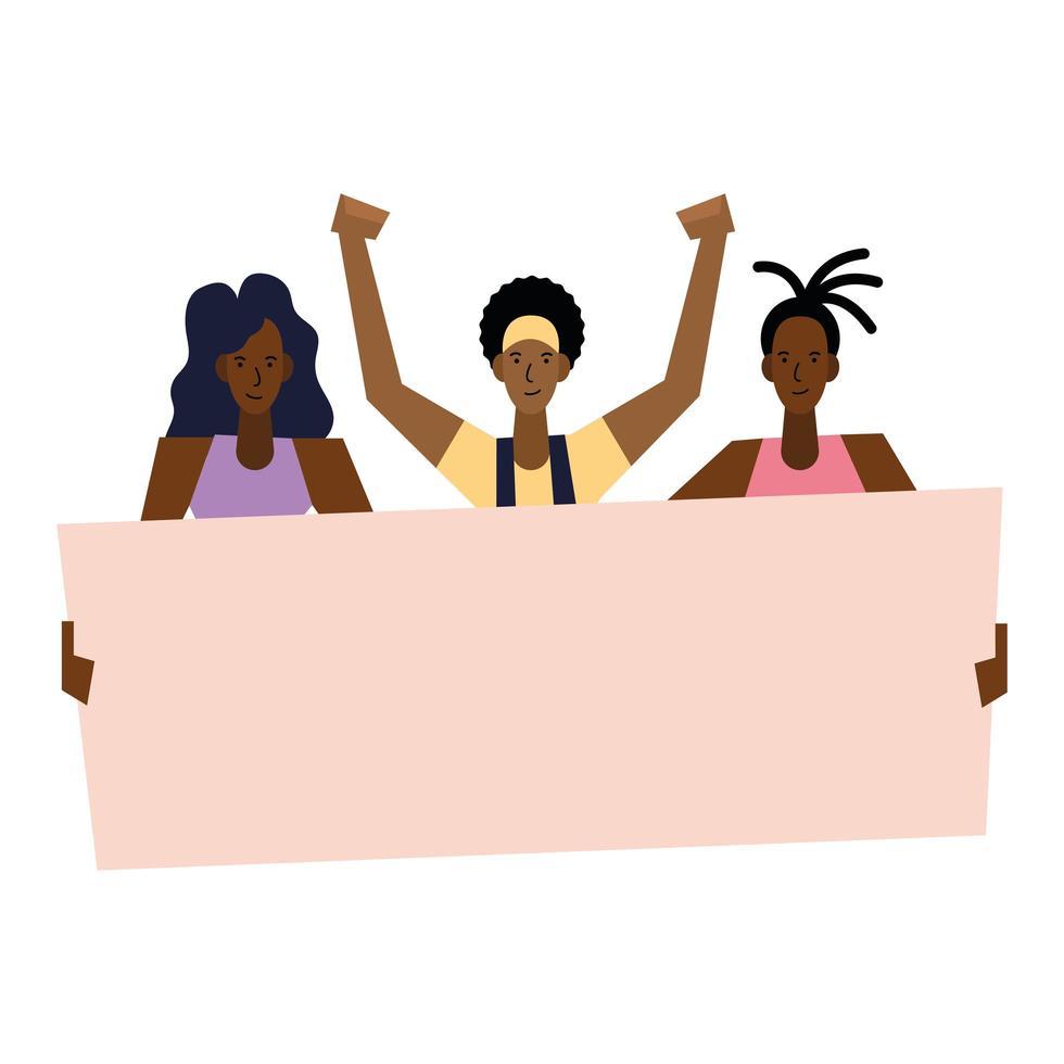 zwarte levens zijn belangrijk voor vrouwen en mannen met vectorontwerp van de banner vector