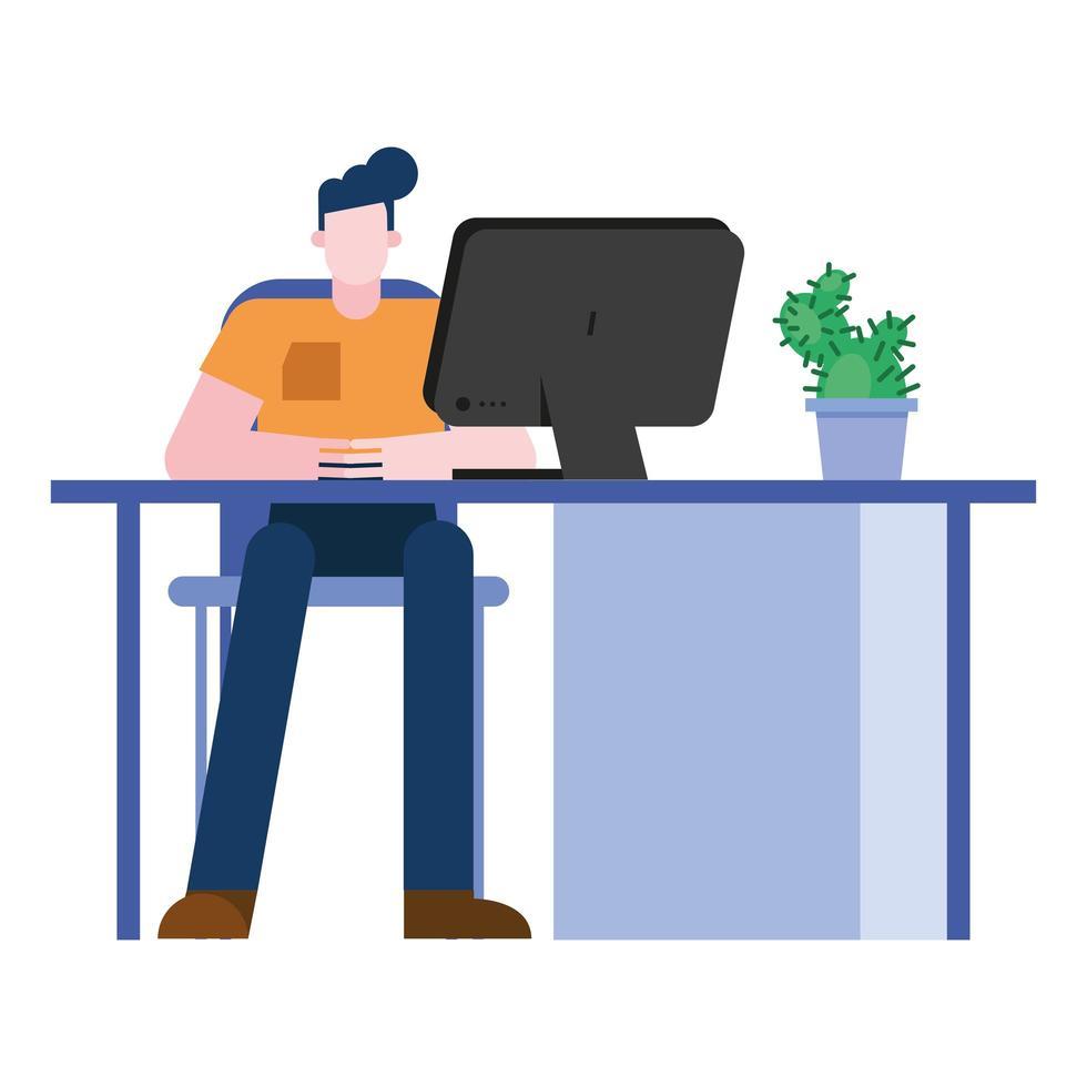 man op kantoor met computer vector design