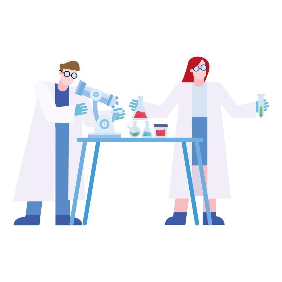 chemische man en vrouw met microscoop en kolven bij bureau vectorontwerp vector
