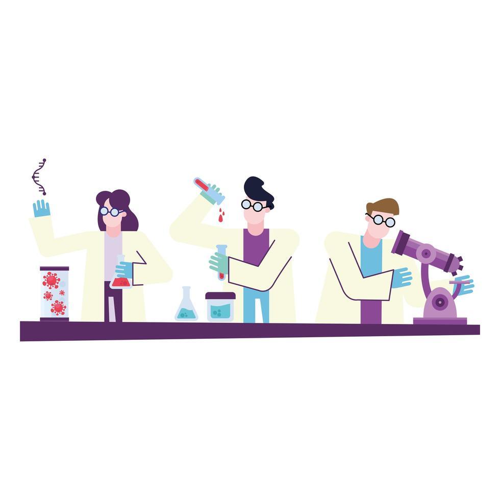 covid 19 virusvaccinonderzoek en chemisch mensen vectorontwerp vector