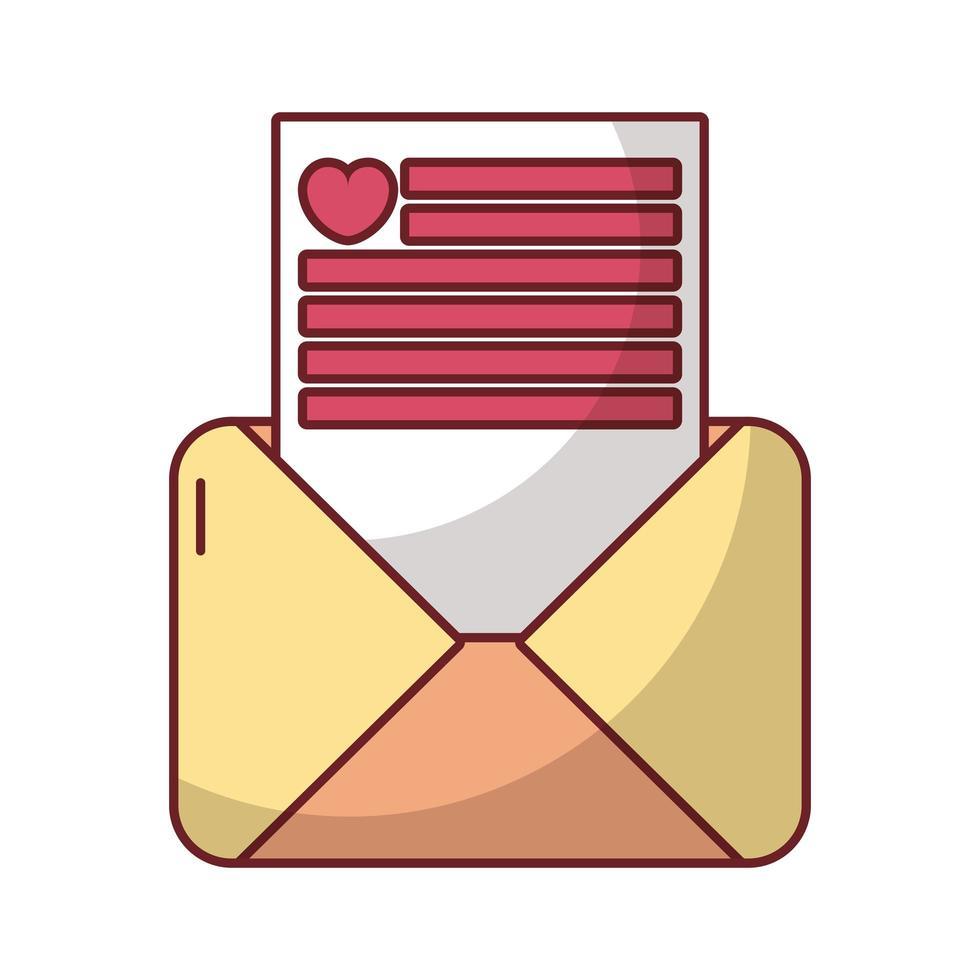 gelukkige Valentijnsdag brief met hart vector