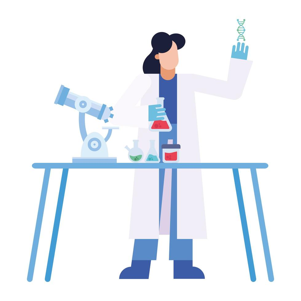 chemicus vrouw met microscoop dna-kolven bij bureau vector ontwerp