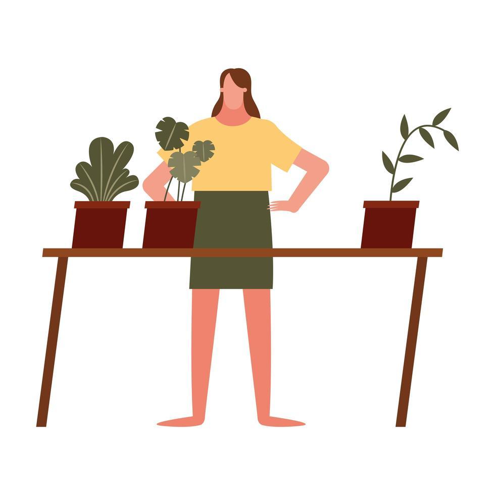 vrouw met planten vector design