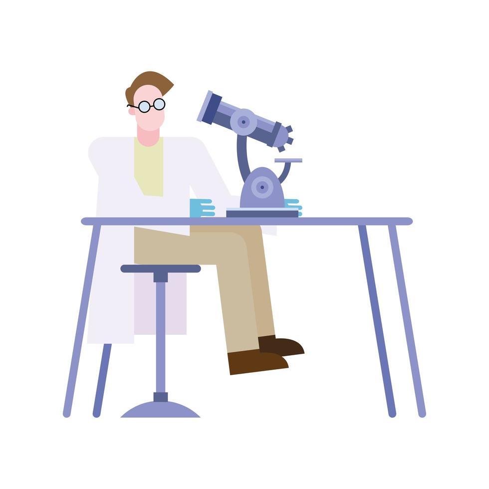 chemische man met microscoop bij bureau vector ontwerp