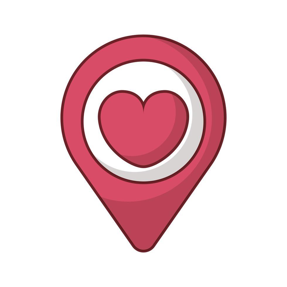 gelukkige Valentijnsdag pin locatie met hart vector