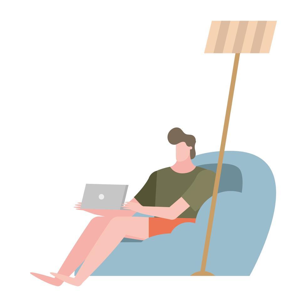 man met laptop op huis stoel vector ontwerp