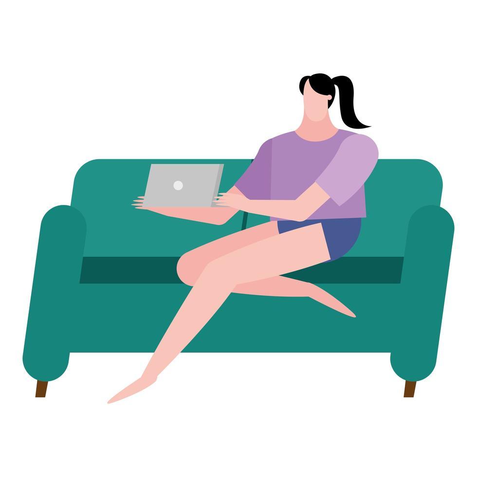 vrouw met laptop op huisbank vector ontwerp
