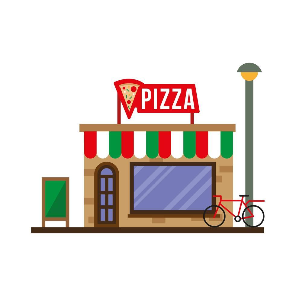 kleine pizzeria gebouw gevel scène vector