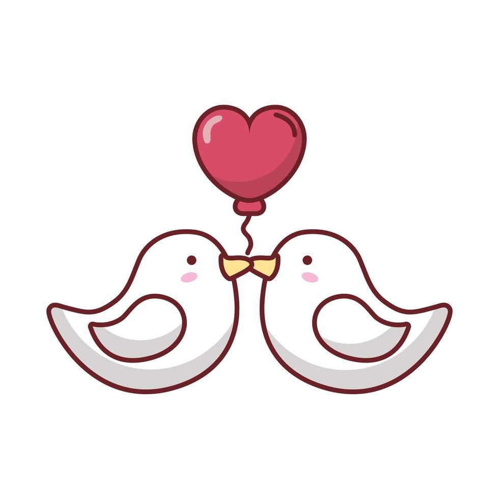gelukkige Valentijnsdag vogels met hart vector