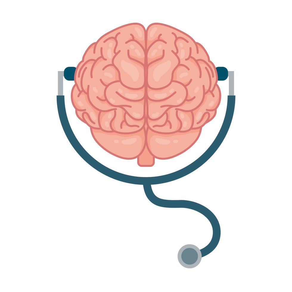 menselijk brein, symbool voor geestelijke gezondheidszorg vector