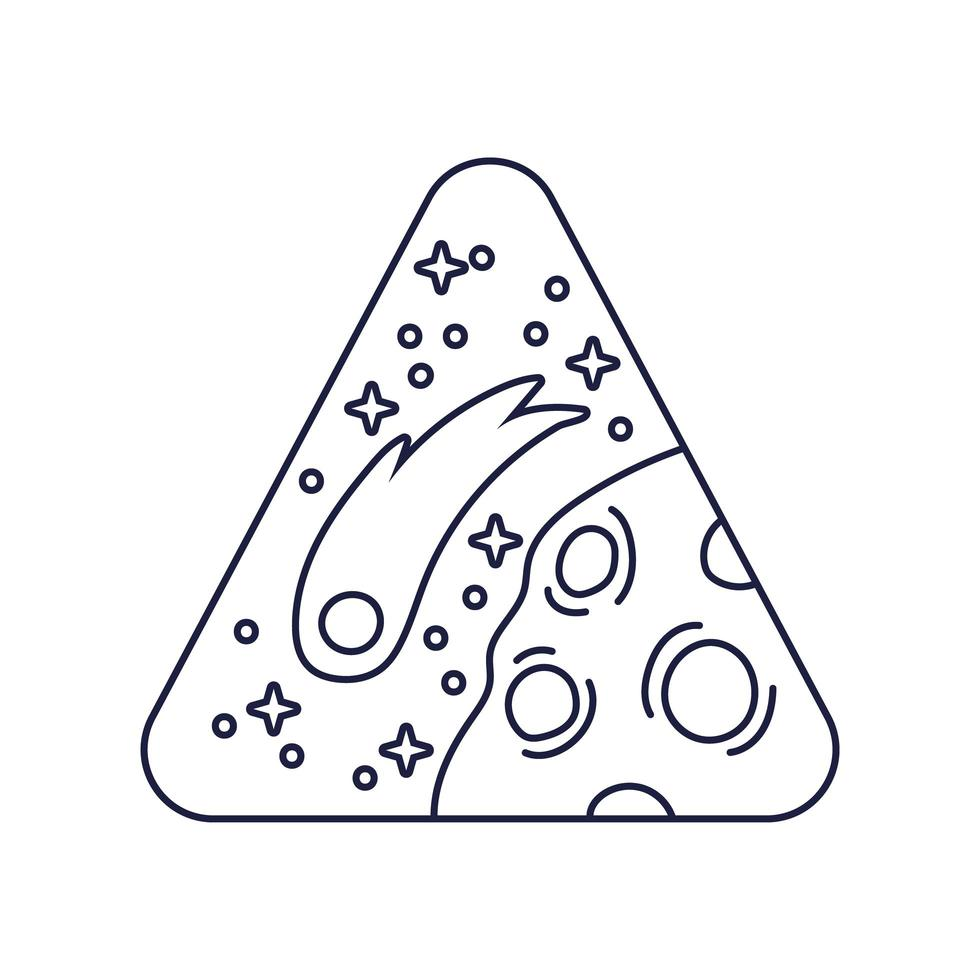 ruimte driehoekige badge met de lijnstijl van de planeet Mars vector