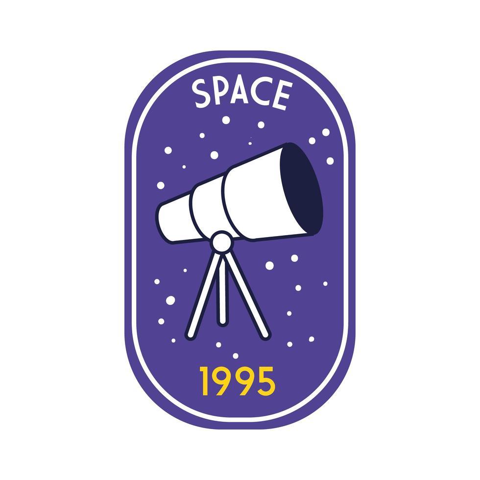 ruimtebadge met telescooplijn en vulstijl vector