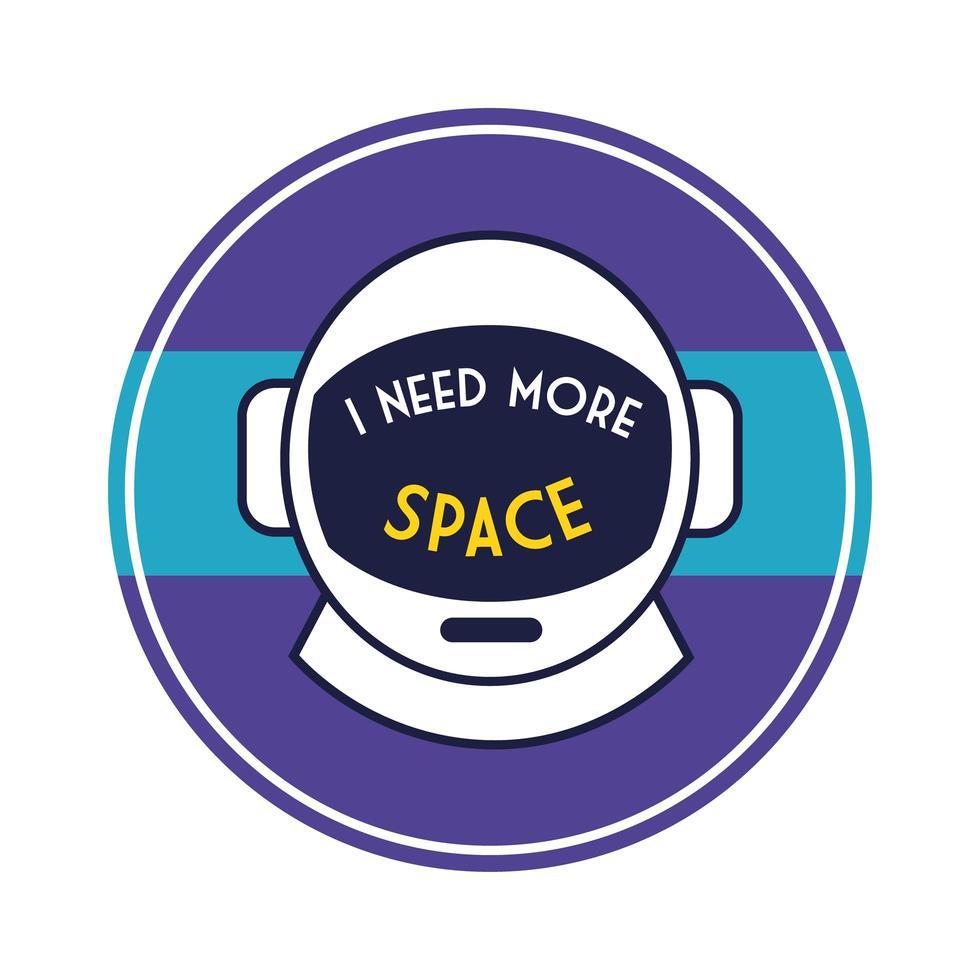 ruimte ronde badge met astronautenhelmlijn en vulstijl vector