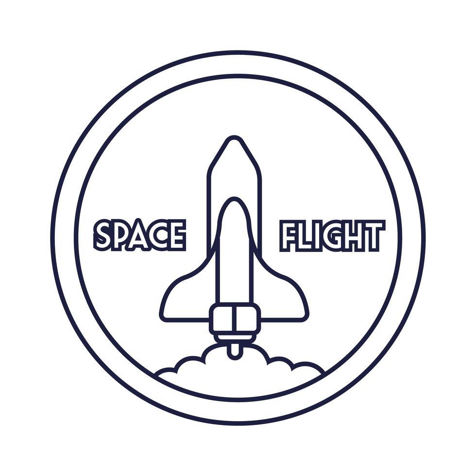 ruimte ronde badge met ruimteschip vliegende lijnstijl vector