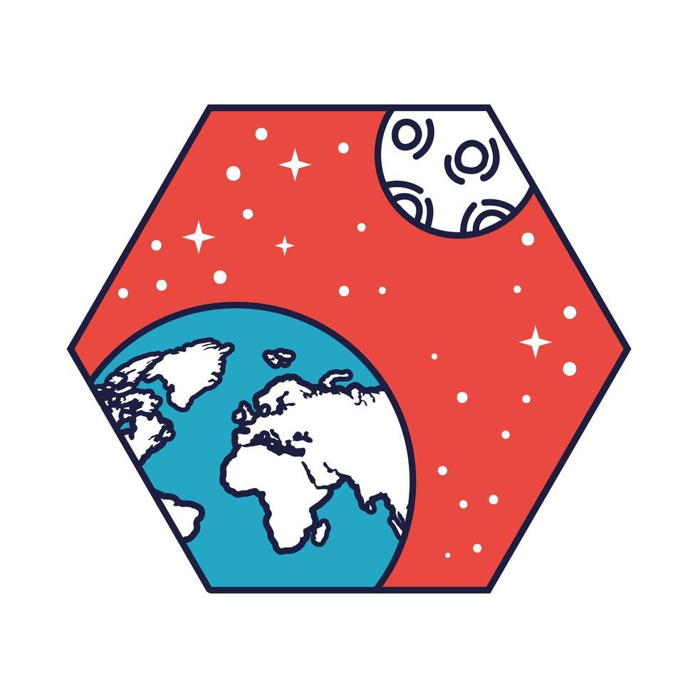 ruimtebadge met aardeplaneet en maanlijn en vulstijl vector