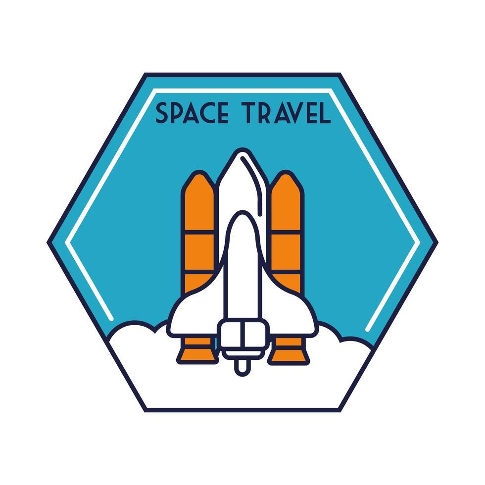 ruimte zeshoekige badge met ruimteschip vliegende lijn en vulstijl vector