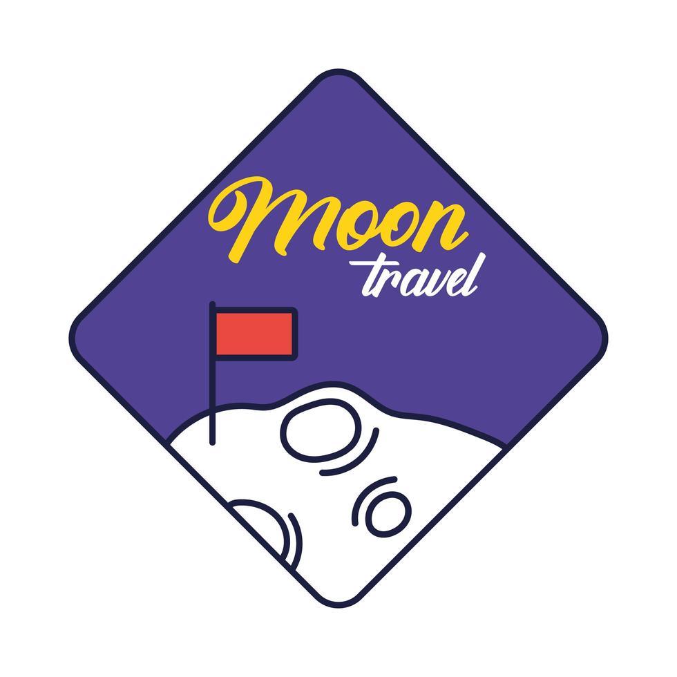 ruimtebadge met maan en vlaggenlijn en vulstijl vector