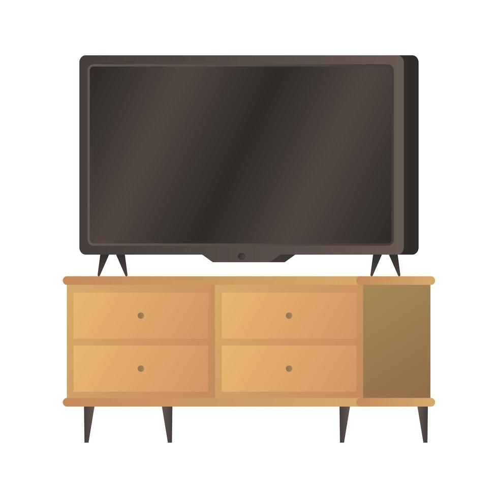 platte tv op bureau pictogram vector illustratie ontwerp