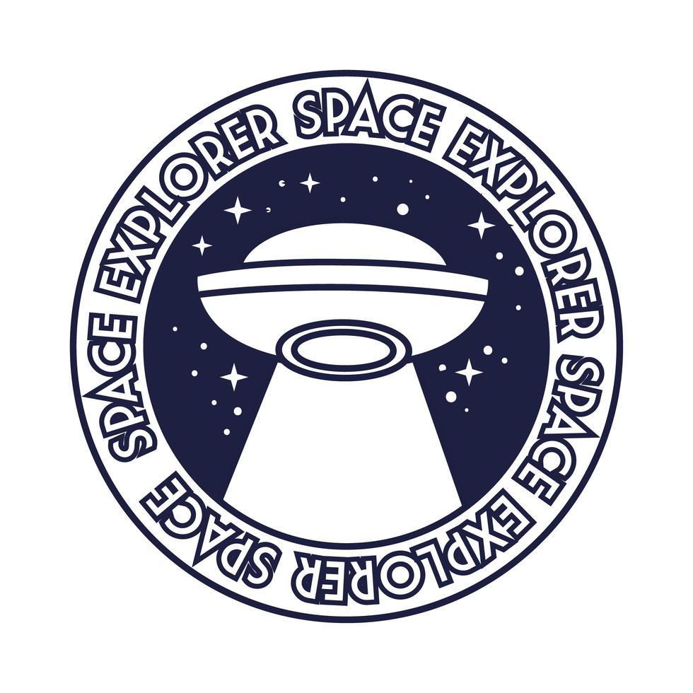 ruimtebadge met ufo vliegen en ruimte ontdekkingsreiziger belettering lijnstijl vector