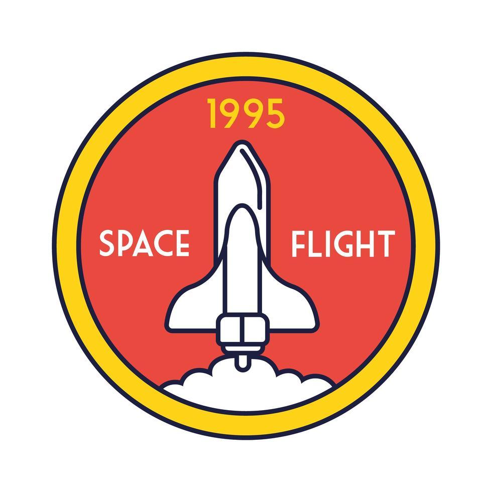 ruimte ronde badge met ruimteschip vliegende lijn en vulstijl vector