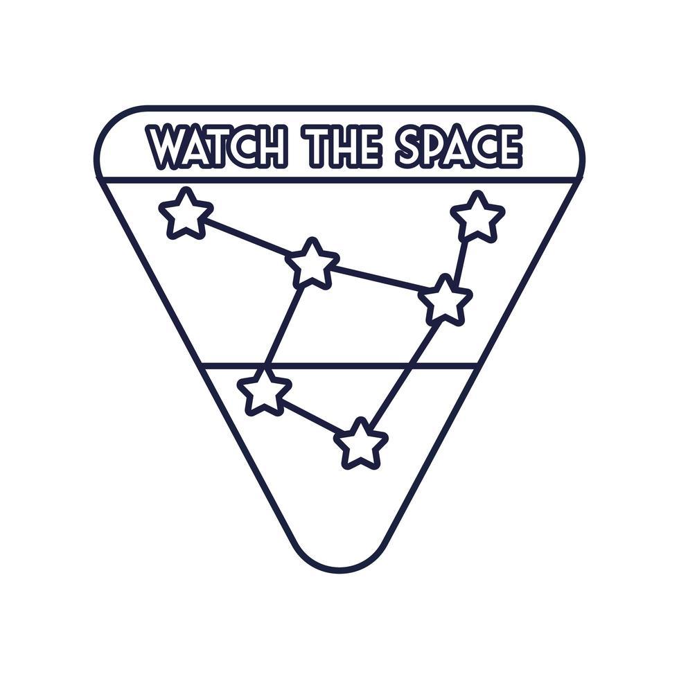 ruimtebadge met sterrenbeeld lijnstijl vector
