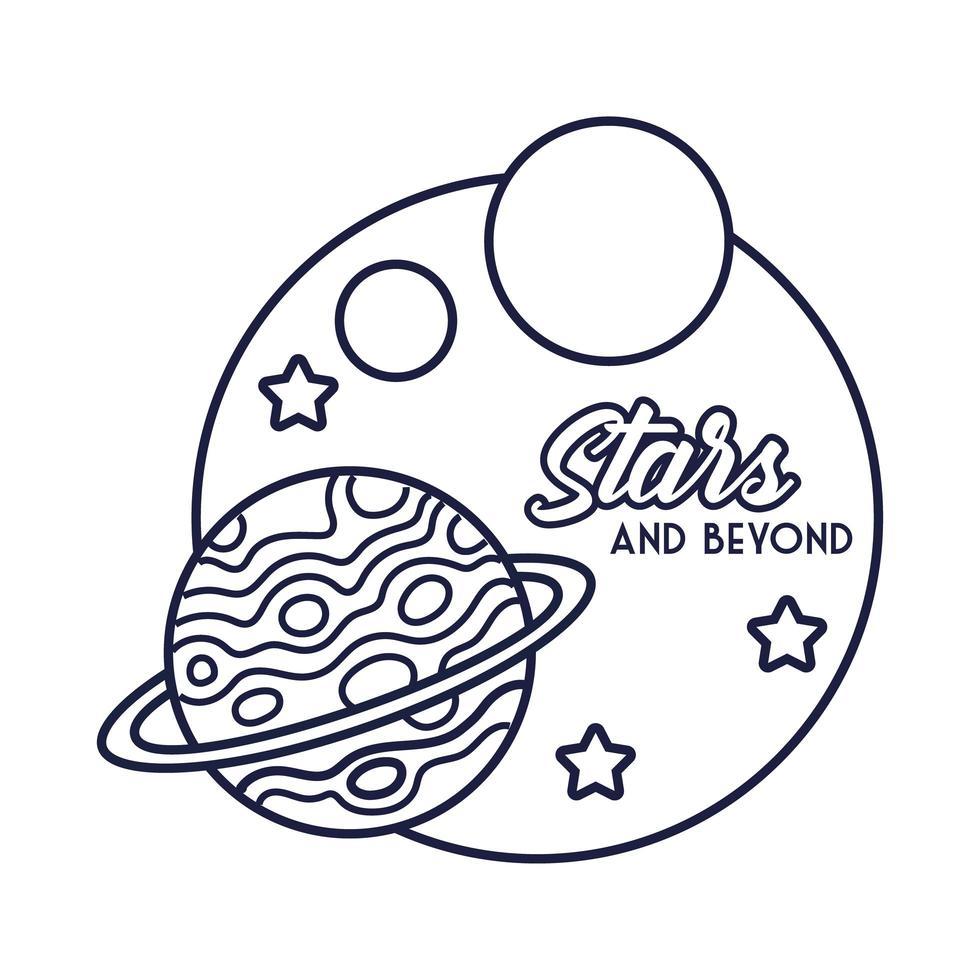 ruimtebadge met de lijnstijl van Saturnus planeet en sterren vector