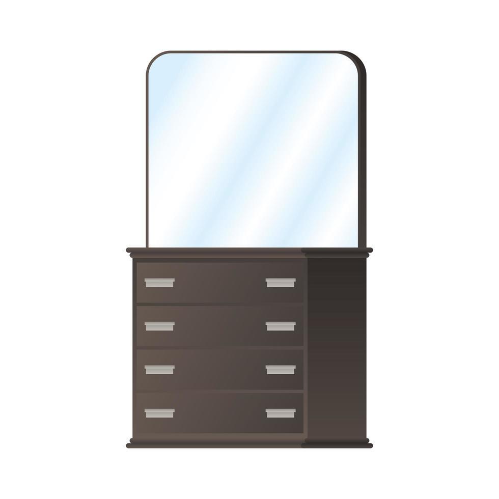 houten dressoir met spiegel vector