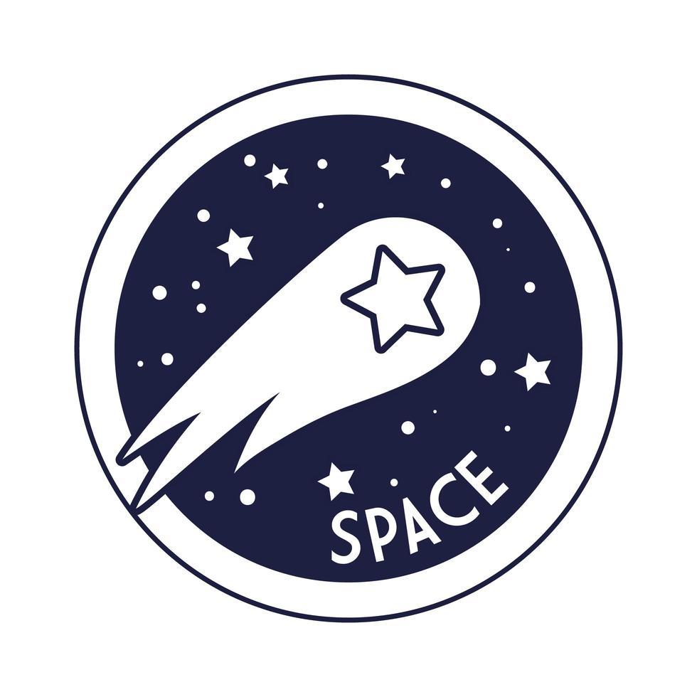 ruimtebadge met vallende ster lijnstijl vector