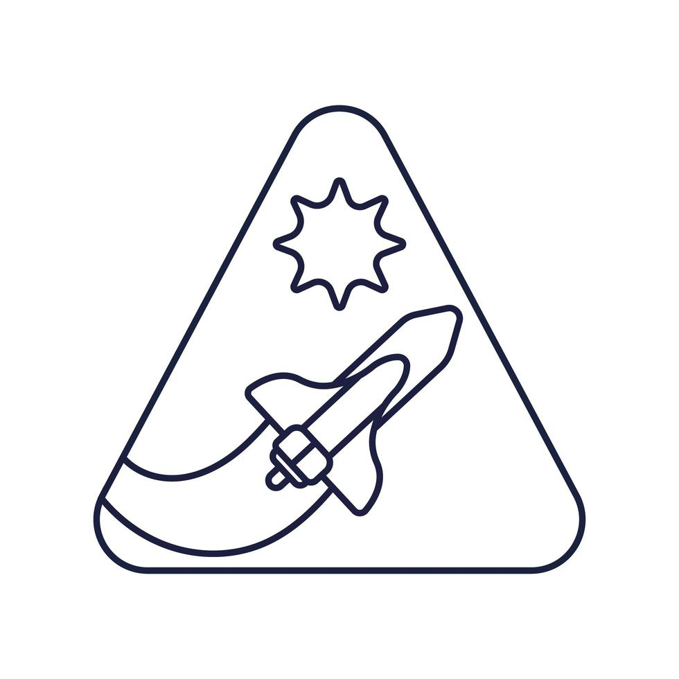 ruimte driehoekige badge met ruimteschip vliegende lijnstijl vector