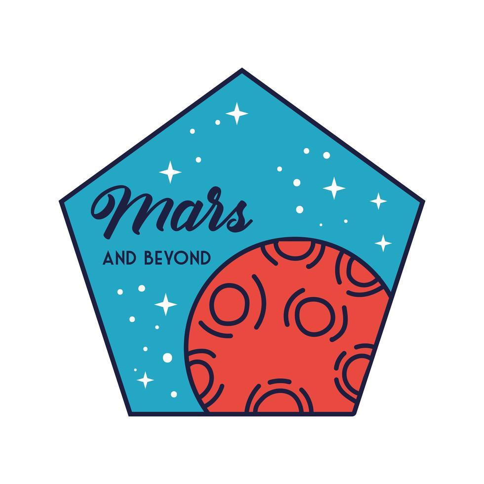 ruimte vijfhoek-badge met mars-planeetlijn en vulstijl vector