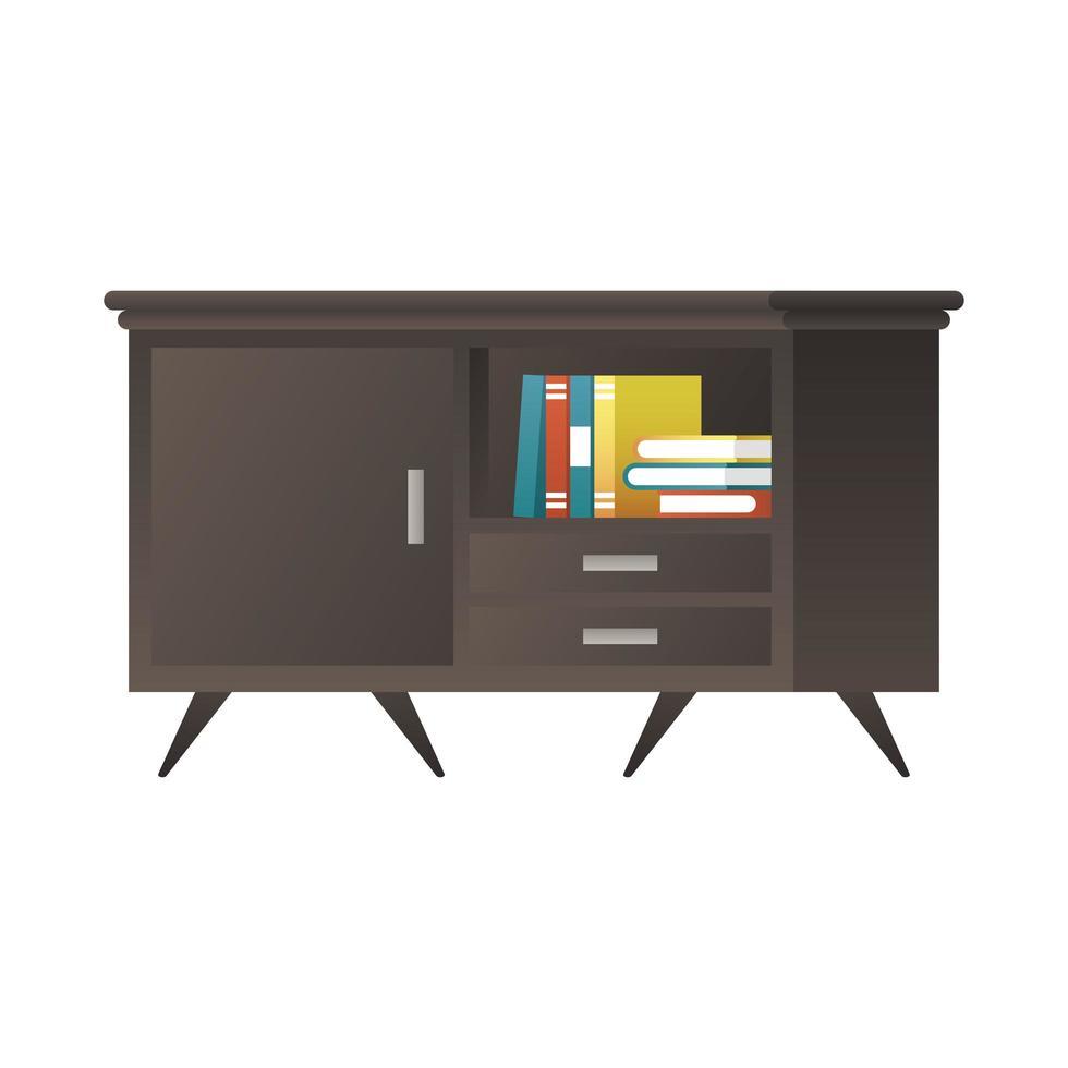 zwart houten dressoir met boeken vector