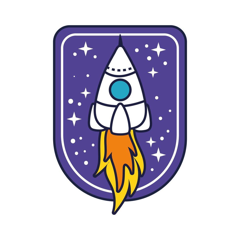 ruimtebadge met raketlijn en vulstijl vector