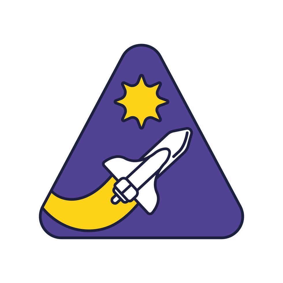 ruimte driehoekige badge met ruimteschip vliegende lijn en vulstijl vector