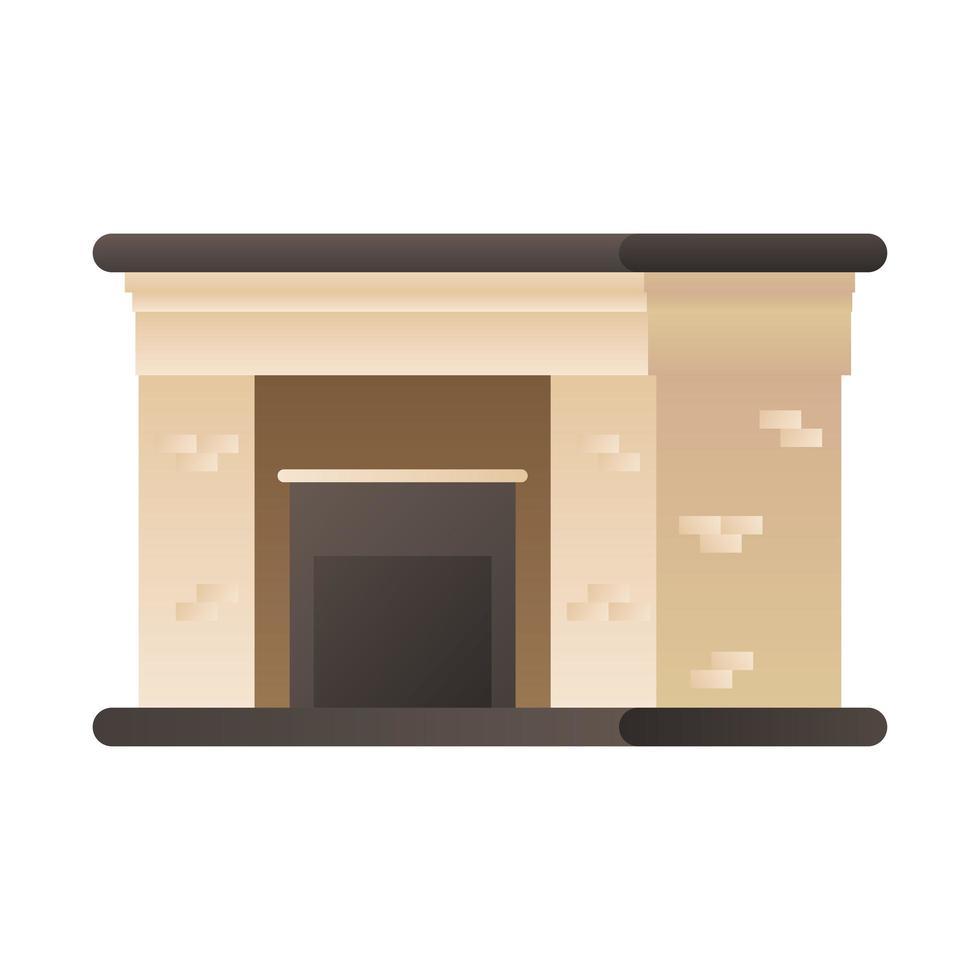 baksteen open haard geïsoleerde pictogram vector