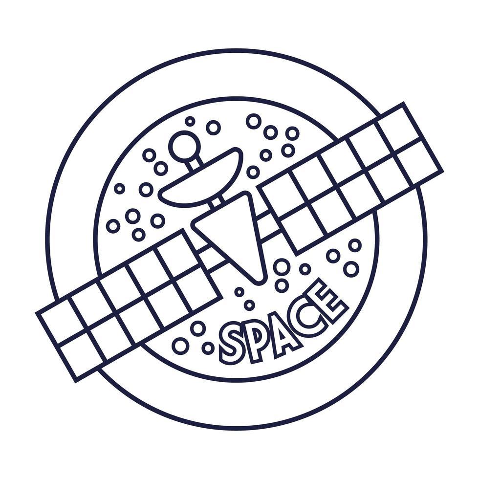 ruimte ronde badge met satellietlijnstijl vector