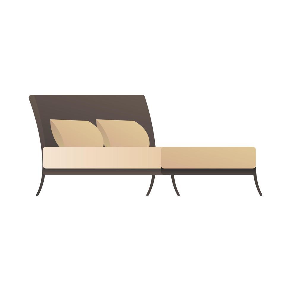 comfortabel bed met kussens pictogram vector
