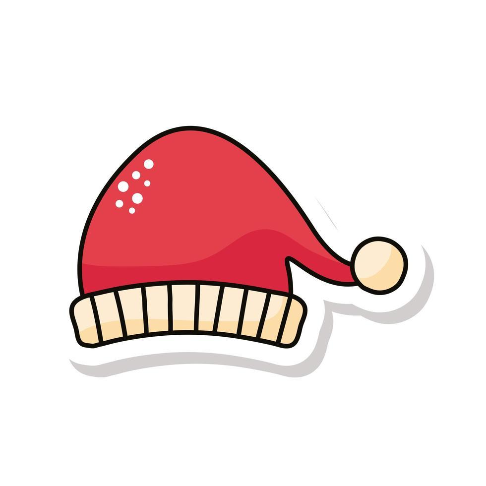 kerst kerstmuts sticker icoon vector