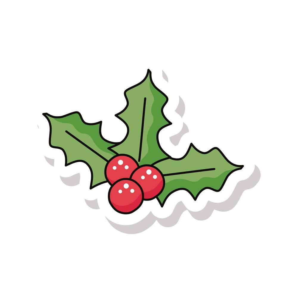vrolijk kerstfeest bessen en bladeren sticker pictogram vector