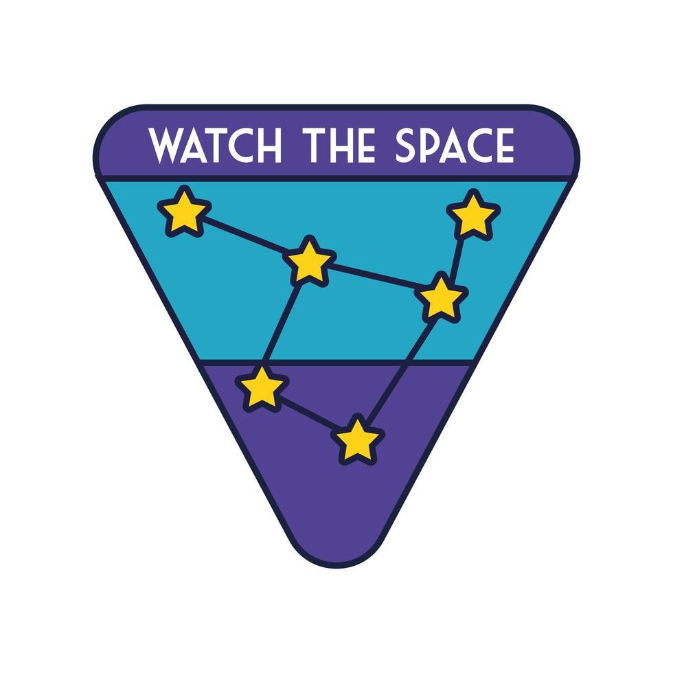 ruimtebadge met sterrenbeeldlijn en vulstijl vector