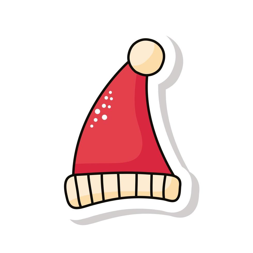 vrolijk kerstfeest kerstmuts kleur rood sticker pictogram vector