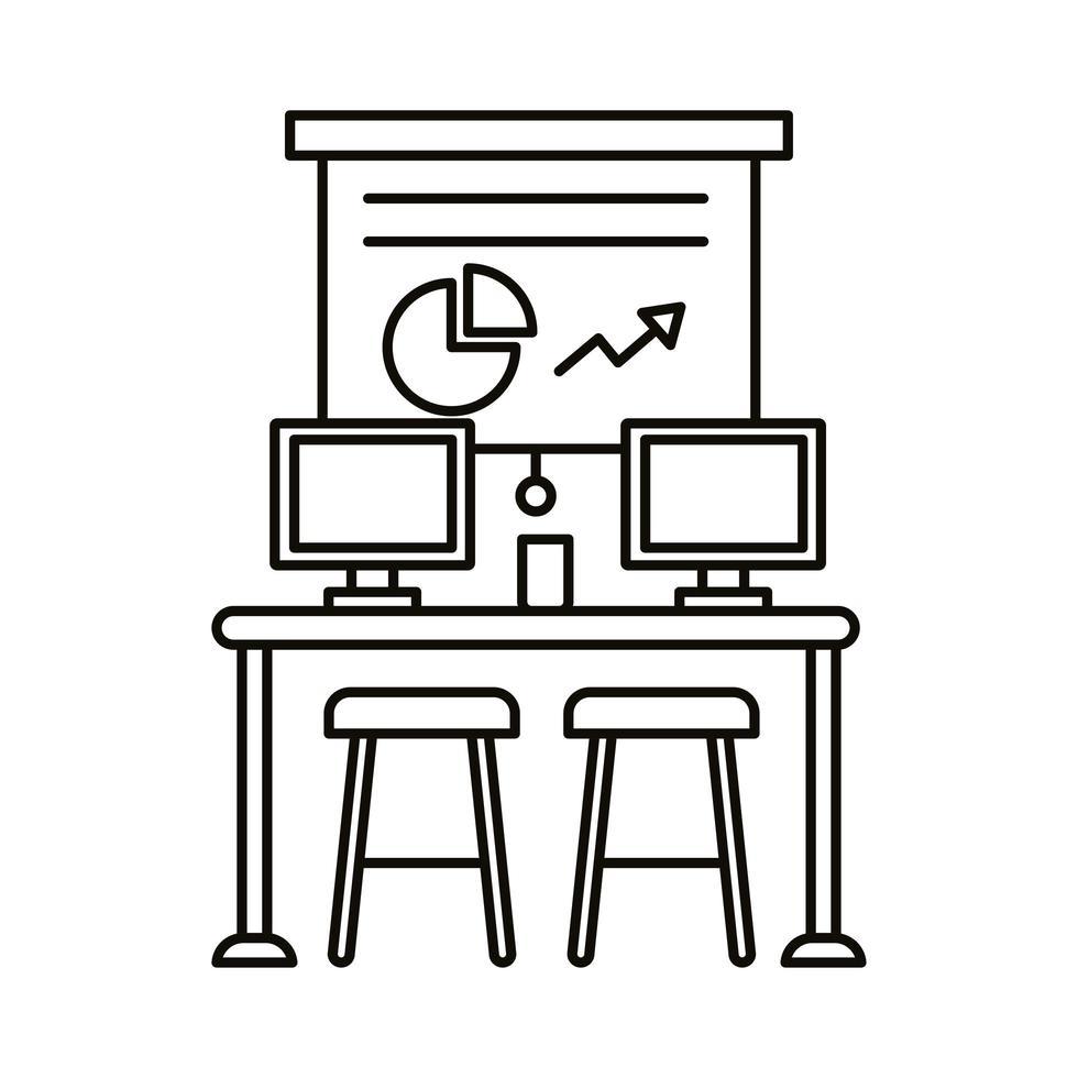 coworking werkplek met statistieken en desktops lijn stijlicoon vector