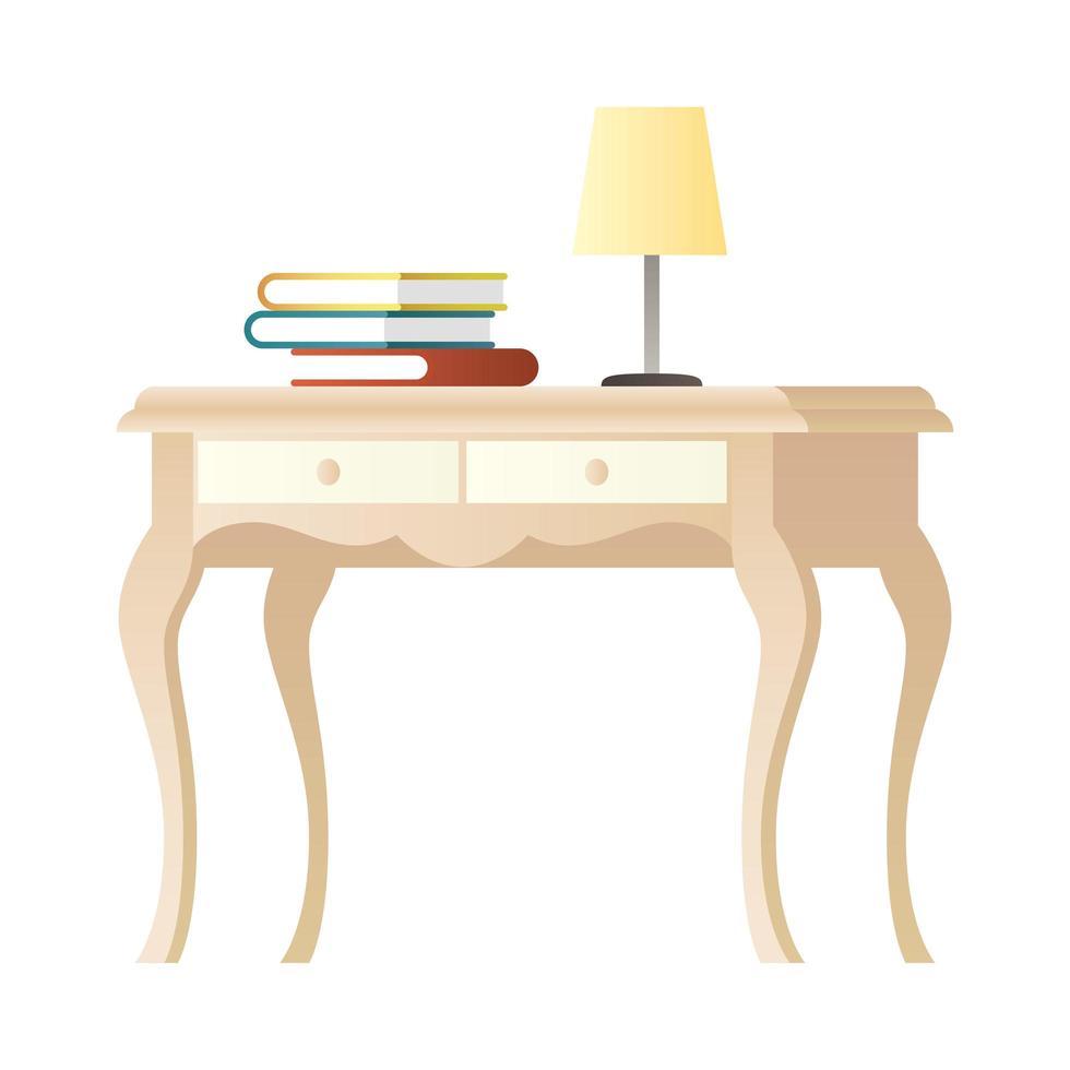 lamp en boeken op houten tafel vector
