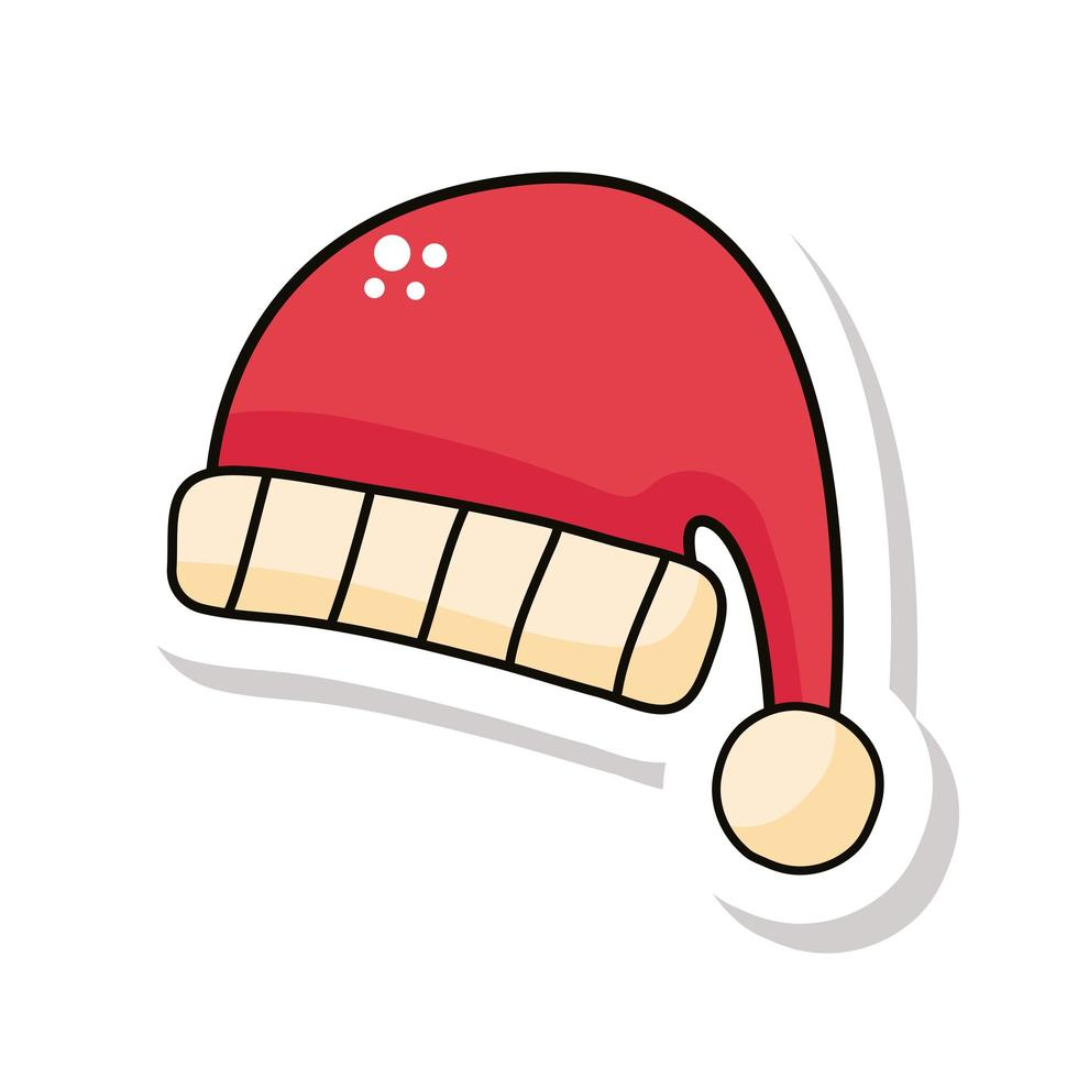 vrolijke kerst kerstman hoed sticker vector