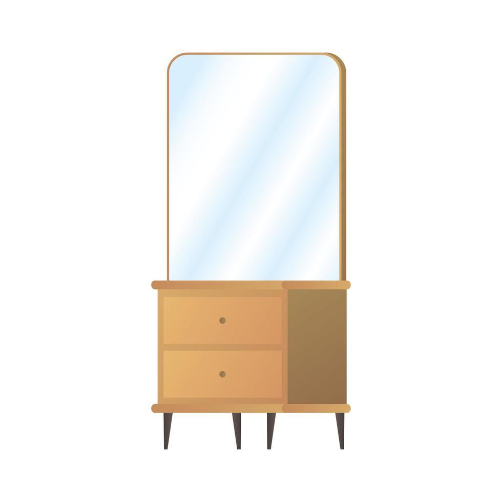houten kaptafel met spiegel pictogram vector illustratie ontwerp