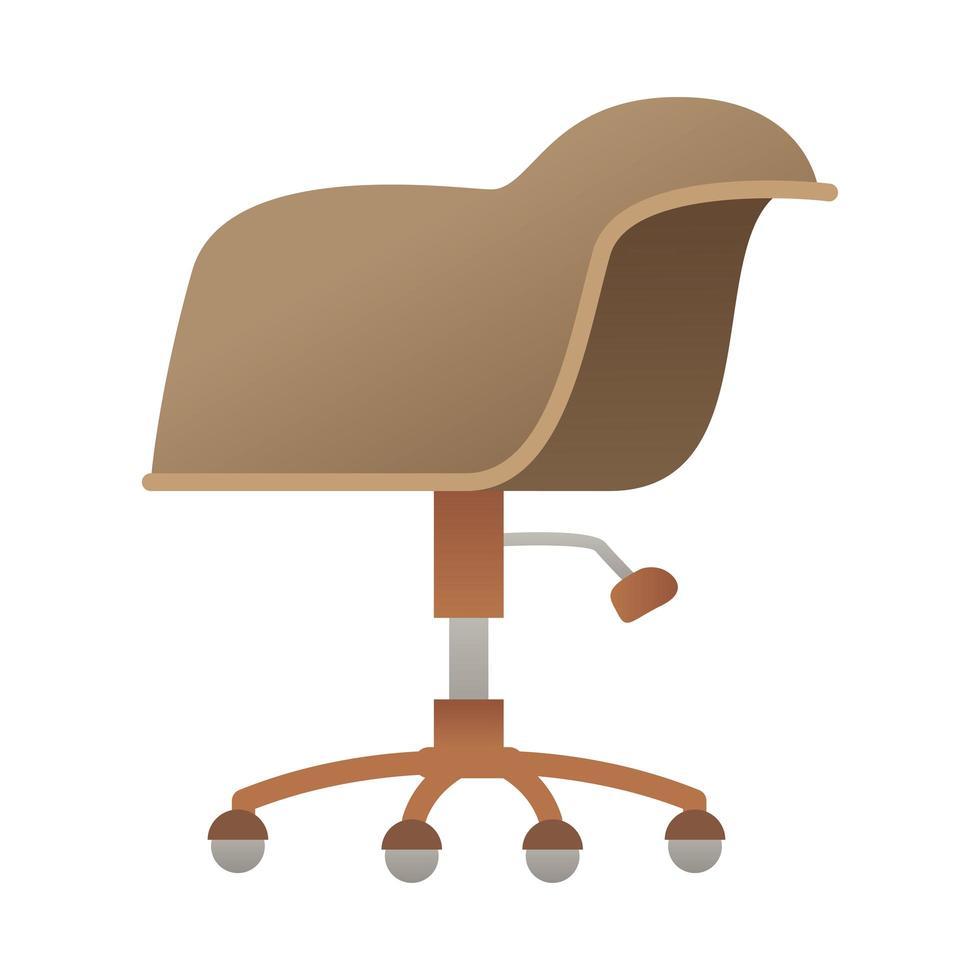 elegante bruine bureaustoel pictogram vectorillustratie vector