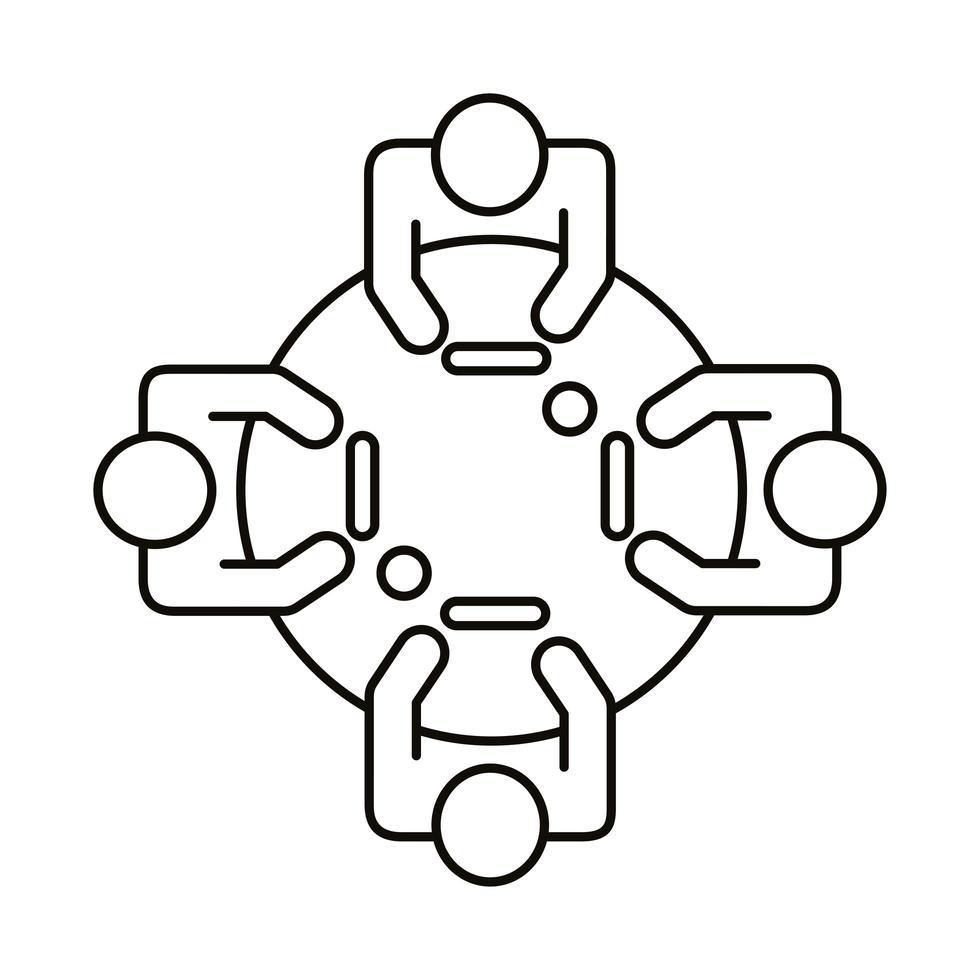 vier werknemers bij ronde tafel lijn stijlicoon vector
